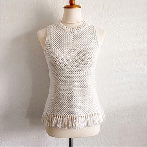 Theory Meenara knit white cream fringe top xsmall